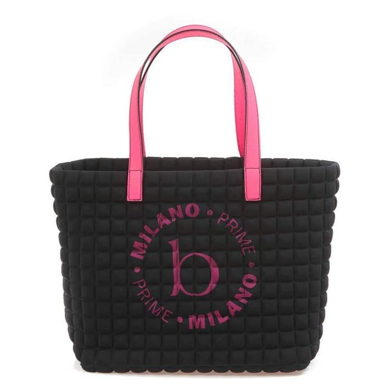 Medium Stampa shopper bag nera